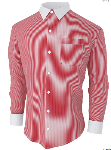 Red & White Stripe Business Shirt
