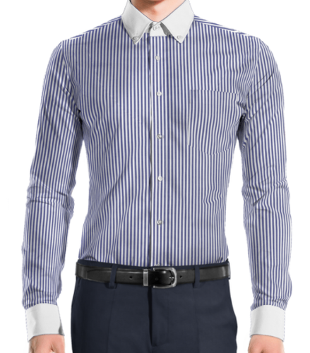 Executive White Collar And Cuff Blue Stripe Shirt
