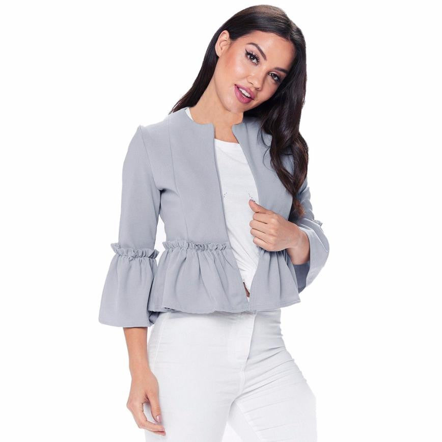 Ruffle Frill Long Sleeve Peplum Pleated Women Jacket - GHOST Store
