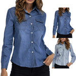 Long Sleeve Casual Denim Blouse - GHOST Store