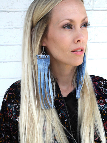 Handmade Jewelry - Denim Fringe Earrings