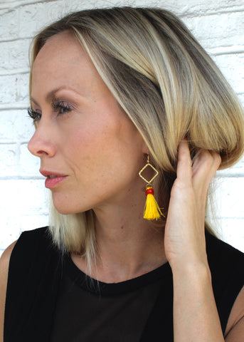 Handmade Jewelry - Yellow and Gold Tassel Earrings
