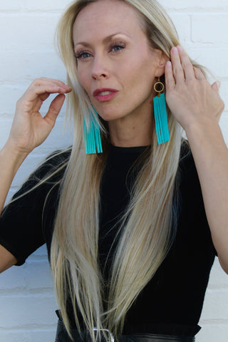 Handmade Jewelry - Turquoise Deerskin Fringe Earrings