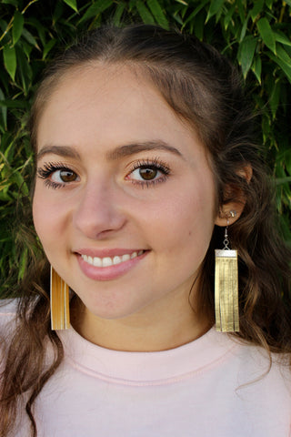 Simple Statement Gold Fringe Earrings