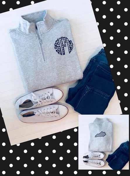 Gingham Monogram with State Pullover