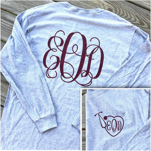 Monogrammed Nursing Long Sleeve Tee
