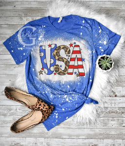 Bleached Mixed Print USA Tee