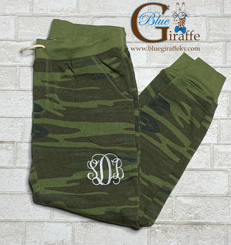 Soft and Comfy Camo Joggers with Monogram