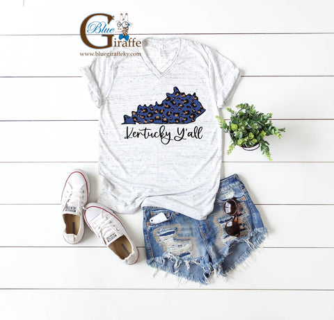 Kentucky Y'all Blue Leopard State Vneck Tee