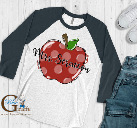 Polka Dot Apple with Teacher Name