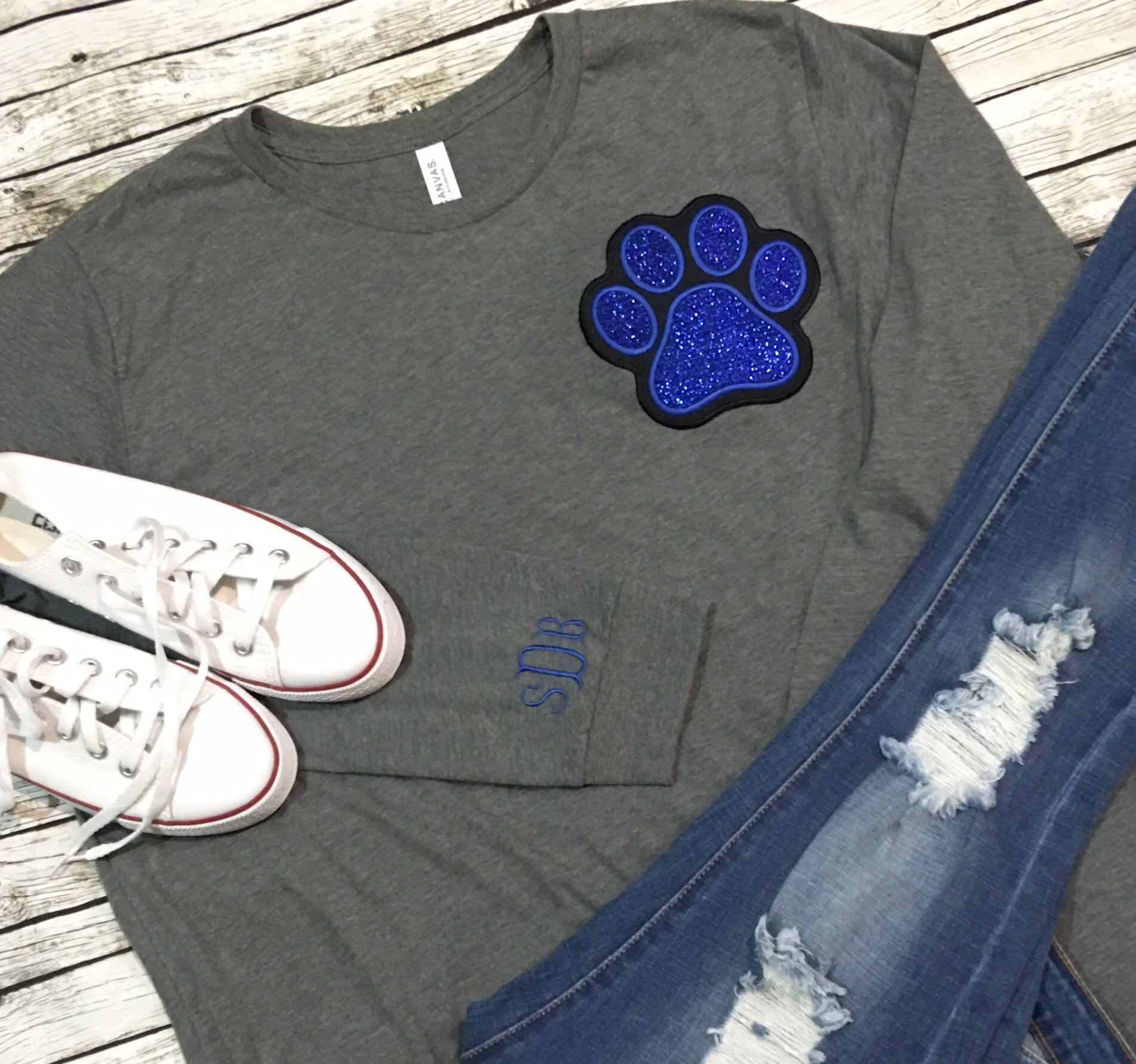 Paw Print with Monogram Long Sleeve Tee