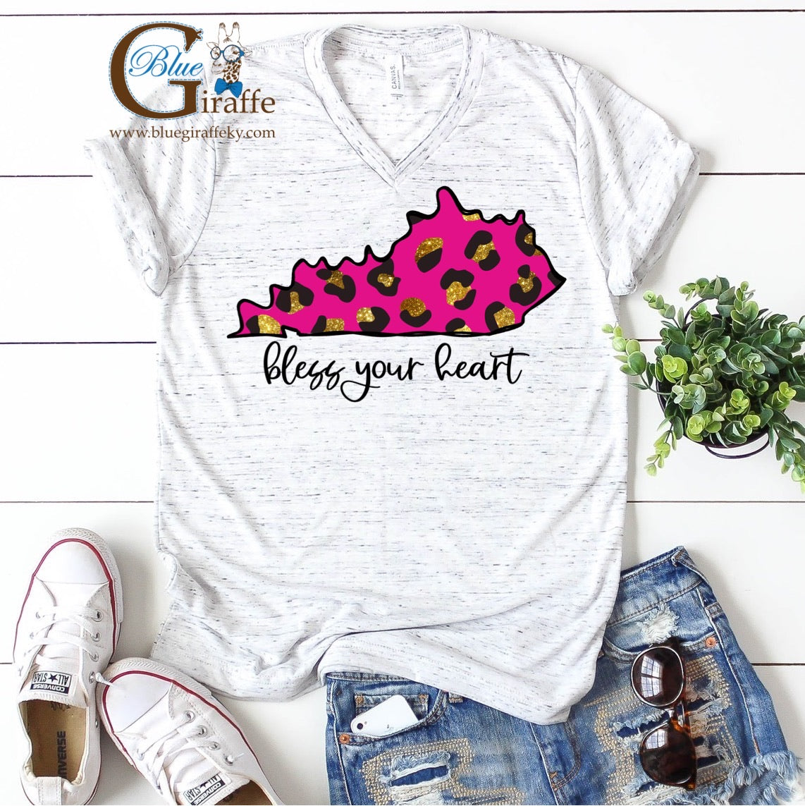 Bless Your Heart Pink Leopard State Vneck Tee