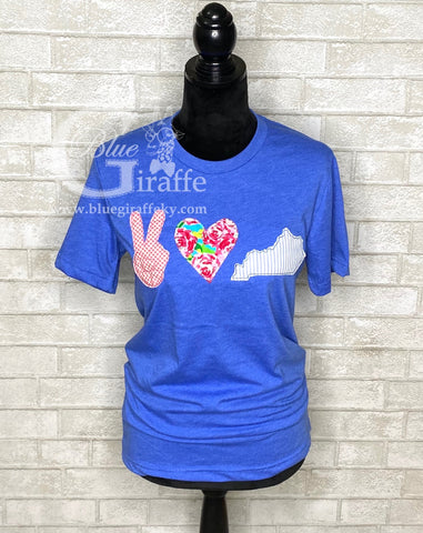 Peace Love Kentucky Applique Tee