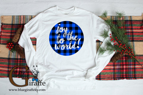 Joy to the World Plaid Circle Long Sleeve Tee