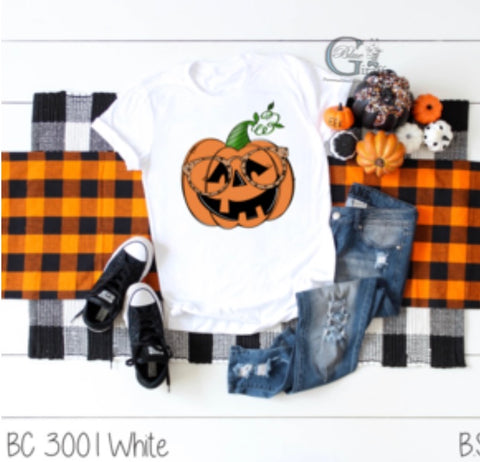 Girl Pumpkin with Glasses Tee