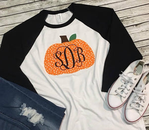 Pumpkin Monogram Applique Raglan