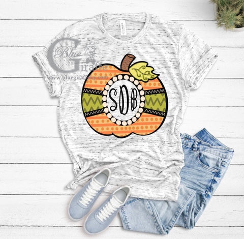 Mixed Print Monogram Pumpkin Tee