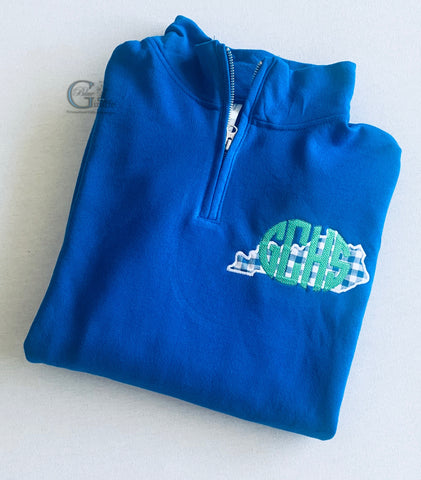 School Monogram 1/4 Zip Pullover