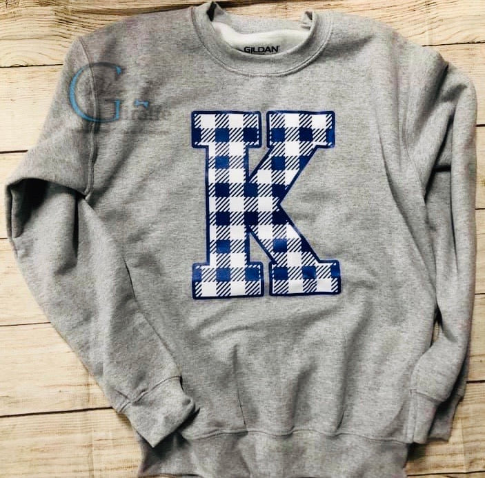 Plaid K Screen Print Sweatshirt