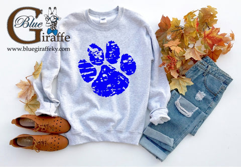 Distressed Paw Print Sweatshirt