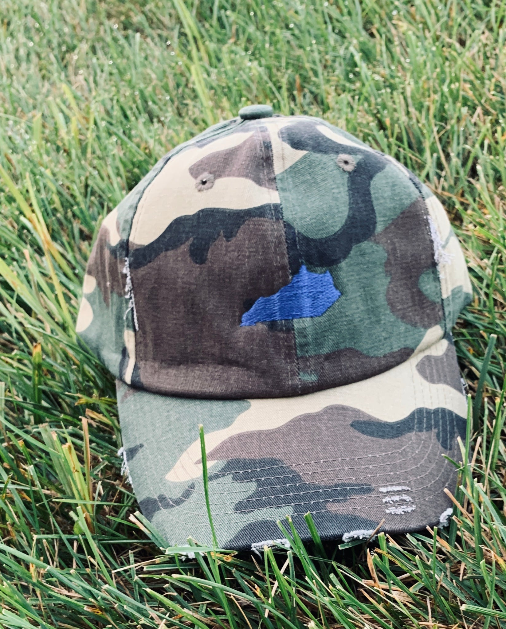 Camo Hat with Blue State