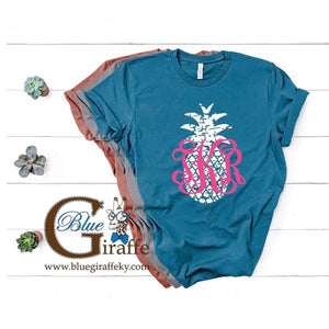 Distressed Pineapple with Monogram Tee