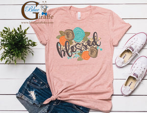 Floral Leopard Blessed Tee