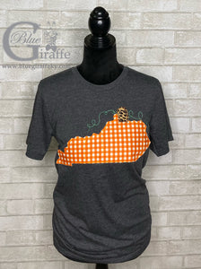 Gingham Pumpkin State Applique Tee