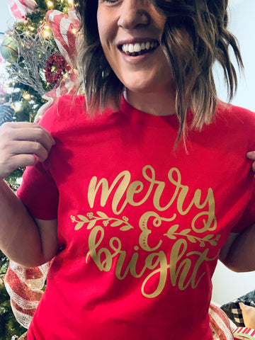 Red Merry and Bright Sale Tee