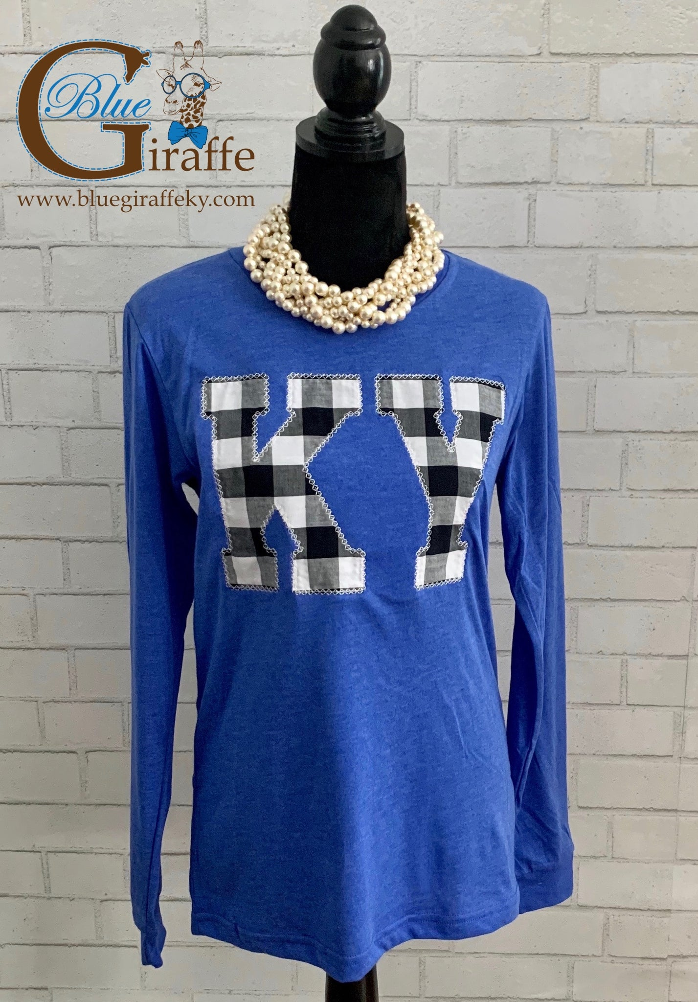 Black & White Gingham KY Applique Long Sleeve Tee