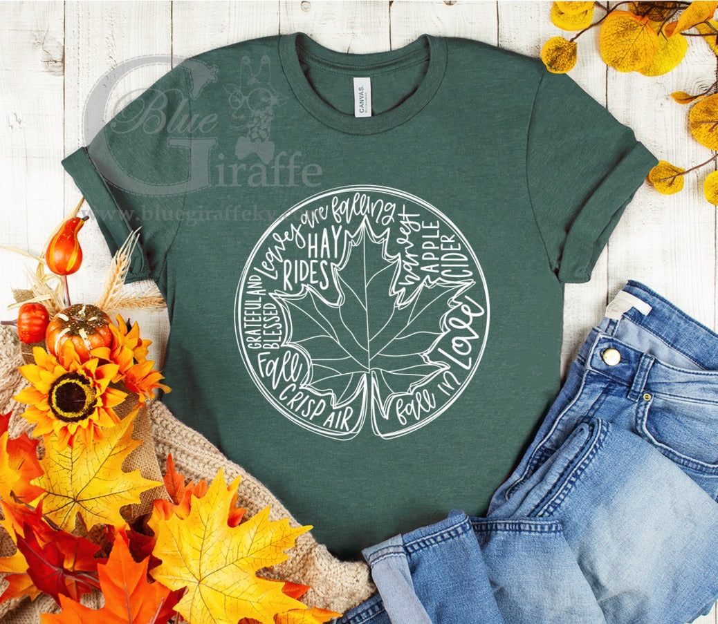 Fall Leaf Word Art Tee