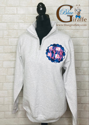 Monogrammed Scallop Circle Pullover