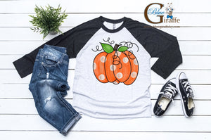 Watercolor Pumpkin Raglan