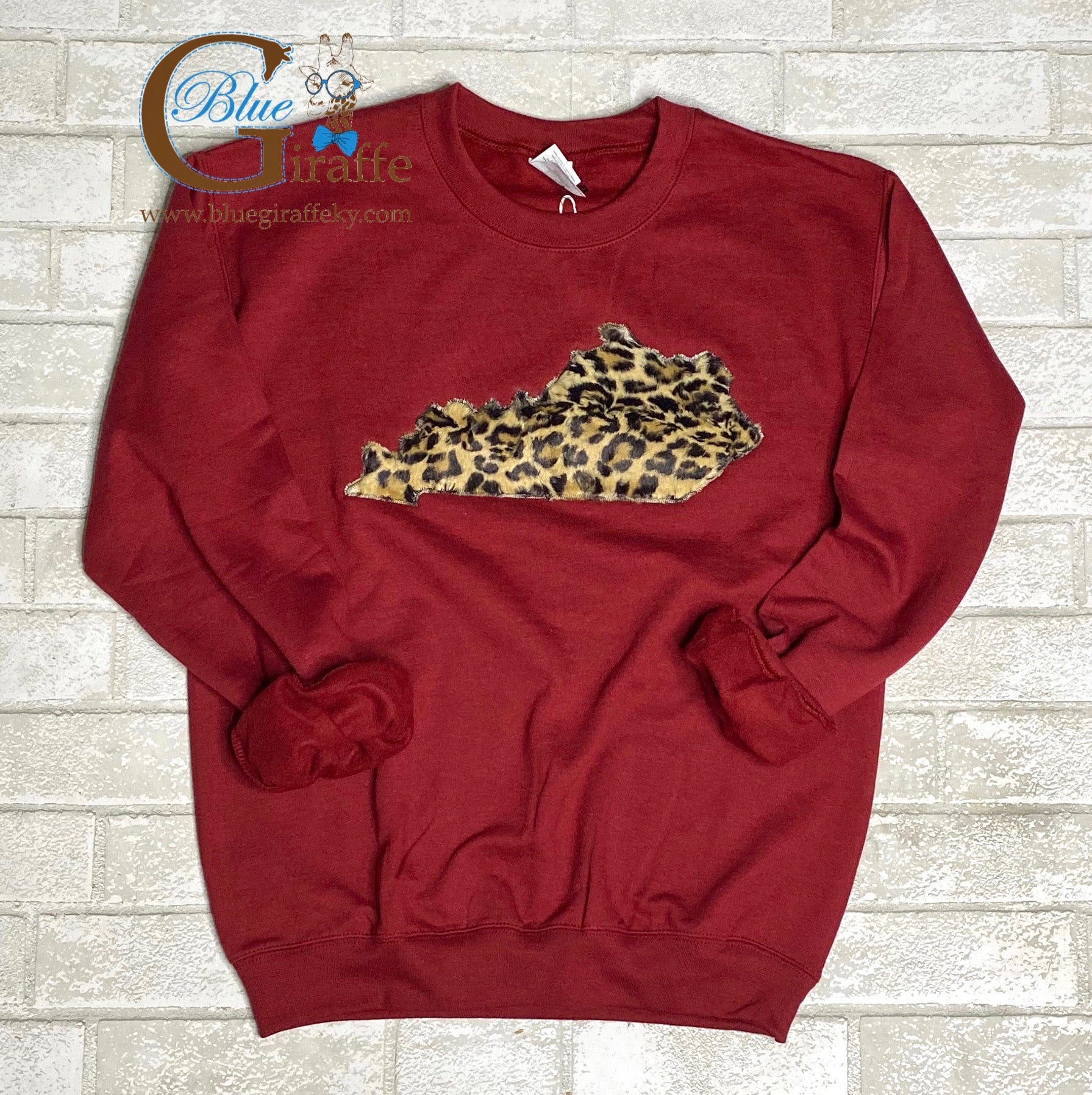 Faux Fur Leopard State Applique Sweatshirt