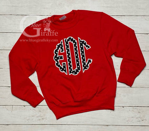 Youth Scallop Monogram Applique Sweatshirt