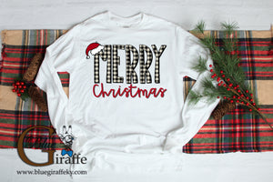 Gingham Merry Christmas Long Sleeve Tee