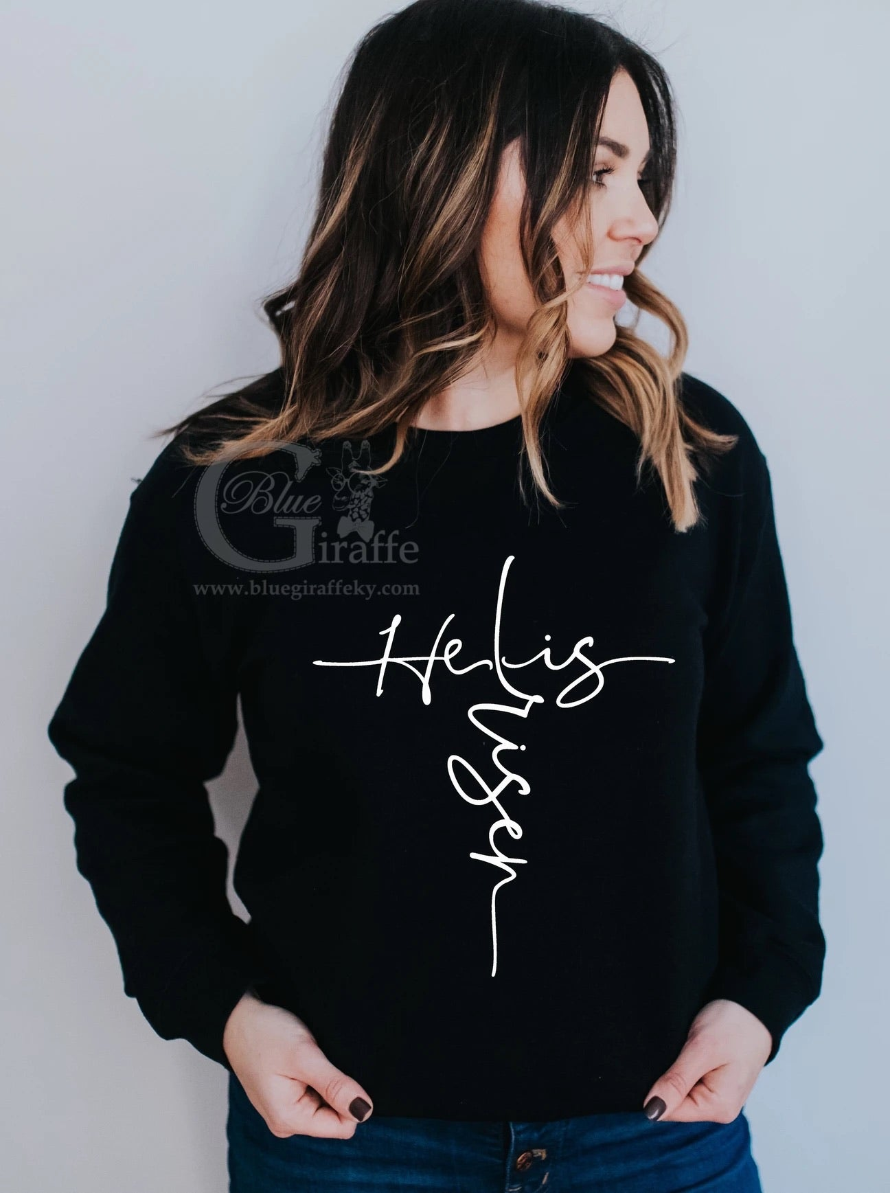 He Is Risen Cross Long Sleeve Tee