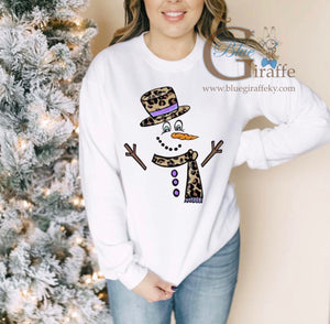 Snowman with Leopard Hat Long Sleeve Tee