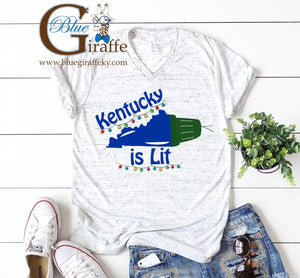 Kentucky is Lit Vneck Tee