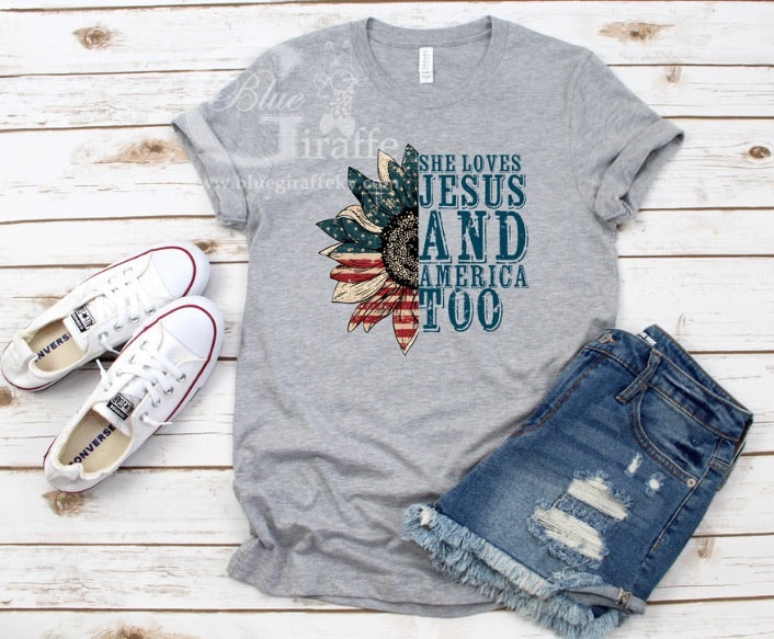 She Loves Jesus and America Too Tank or Tee
