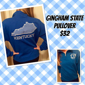 Gingham State with monogram Pullover