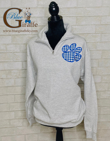 Gingham Paw Print 1/4 Zip Pullover