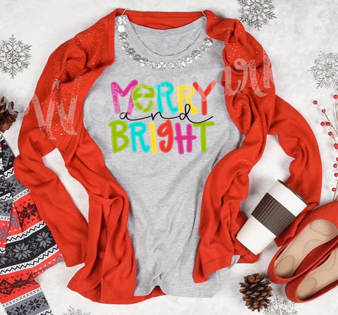 Colorful Merry and Bright Tee