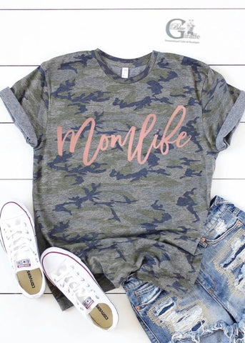 Rose Gold Mom Life Camo Tee