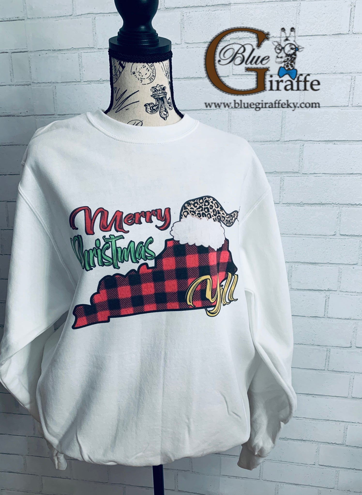 Merry Christmas Yall Leopard Hat Sweatshirt
