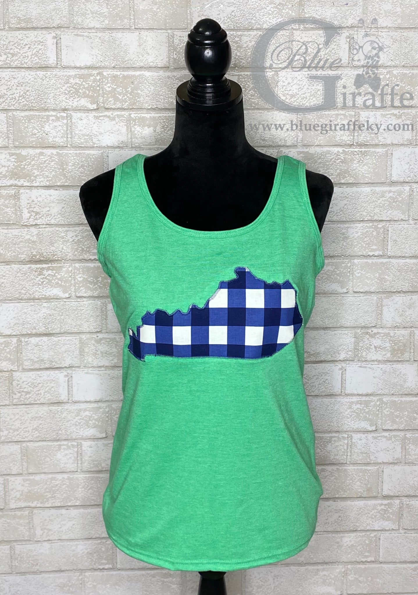 Navy Plaid State Racerback Tank