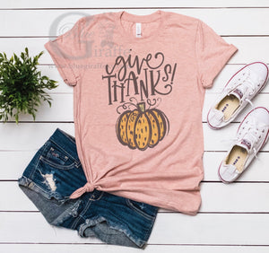 Give Thanks Leopard Pumpkin Tee