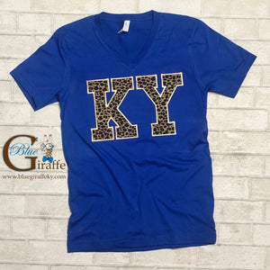 Leopard KY Appliqué on Blue Vneck Tee