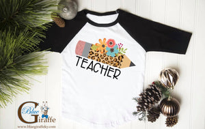 Leopard Pencil Teacher Raglan