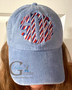 Patriotic Scallop Monogram Hat